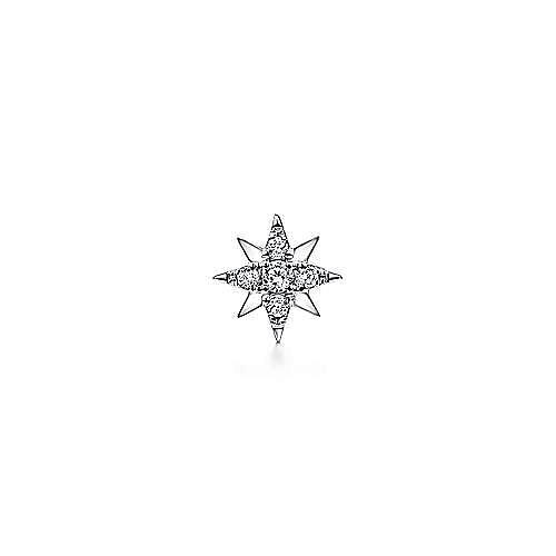 14K White Gold Single Diamond Stud Star Earring