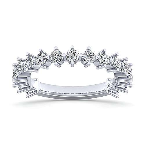 14K White Gold Single Prong Diamond Anniversary Band