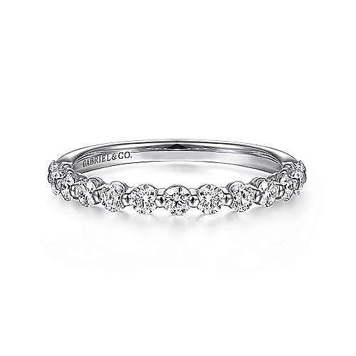 14K White Gold Single Prong Diamond Ring Band