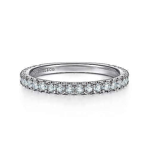 14K White Gold Sky Blue Topaz Stacklable Ring