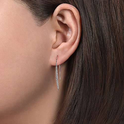 14K White Gold Slim Tapered Diamond Drop Earrings