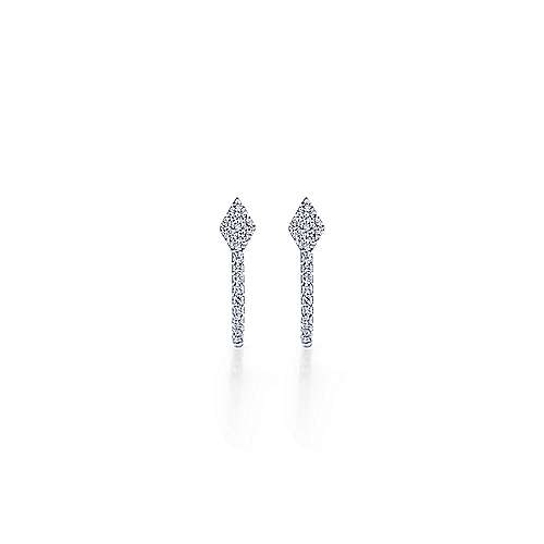 14K White Gold Small Oval Diamond Huggies