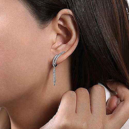 14K White Gold Spiked 10mm Diamond Huggie Drop Earrings