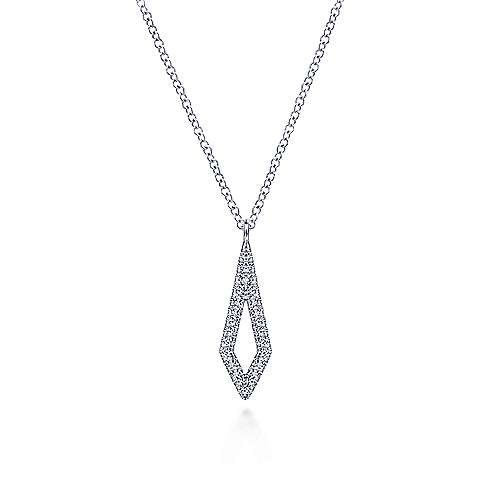 14K White Gold Spiked Diamond Pendant Necklace