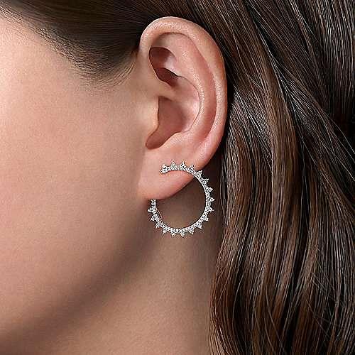 14K White Gold Spiky Diamond Hoop Earrings