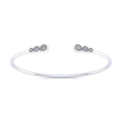 14K White Gold Split Bezel Set Diamond Bangle
