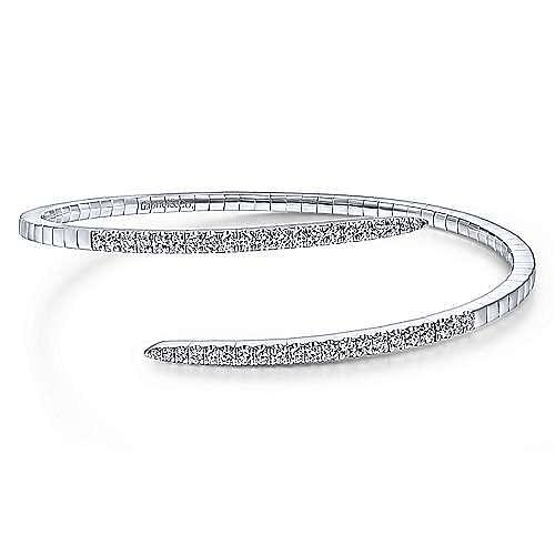 14K White Gold Split Bypass Diamond Bangle