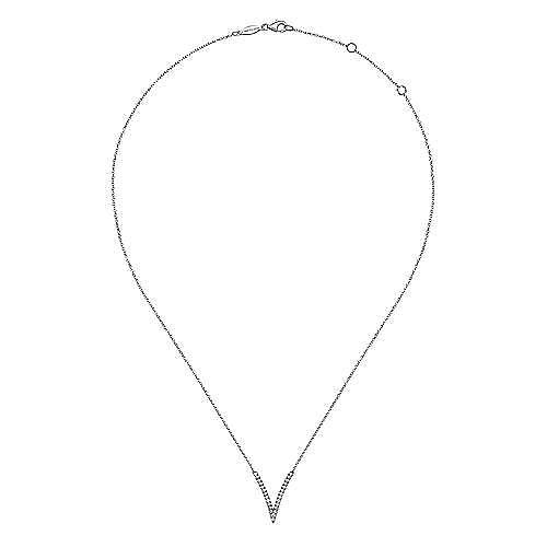 14K White Gold Split Chain Diamond V Necklace