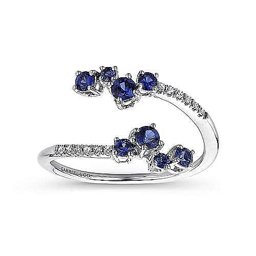 14K White Gold Split Sapphire and Diamond Ring