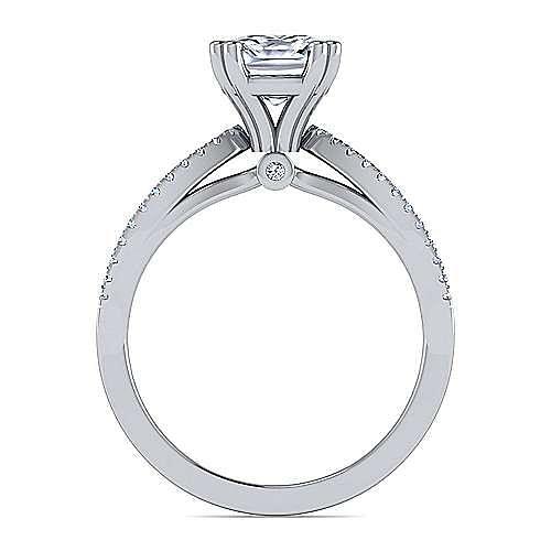14K White Gold Split Shank Cushion Cut Diamond Engagement Ring
