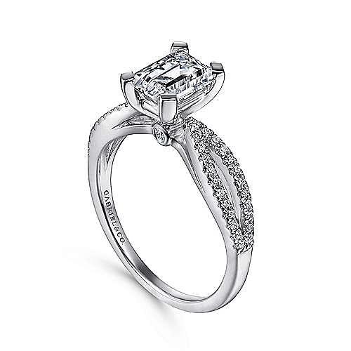 14K White Gold Split Shank Emerald Cut Diamond Engagement Ring