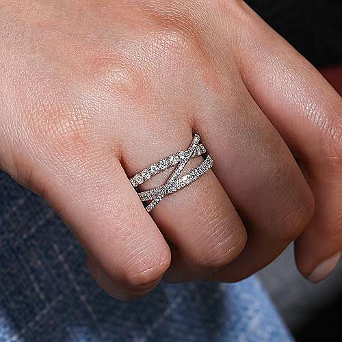 14K White Gold Split Shank Layered Diamond Ring