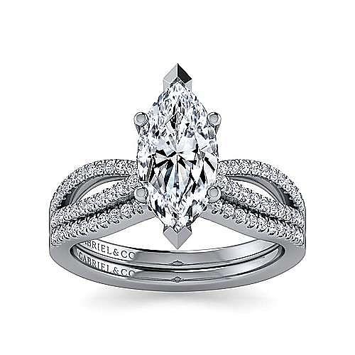 14K White Gold Split Shank Marquise Shape Diamond Engagement Ring