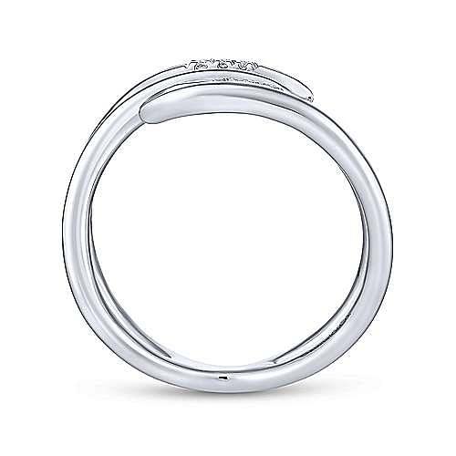 14K White Gold Split Shank Pavé Diamond Open Wrap Ring