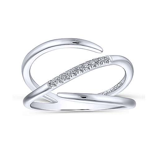 14K White Gold Split Shank Pavé Diamond Wrap Ring