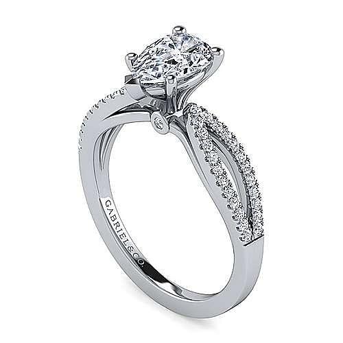 14K White Gold Split Shank Pear Shape Diamond Engagement Ring
