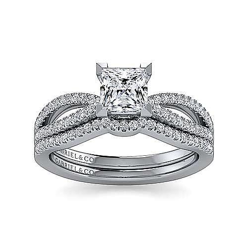 14K White Gold Split Shank Princess Cut Diamond Engagement Ring