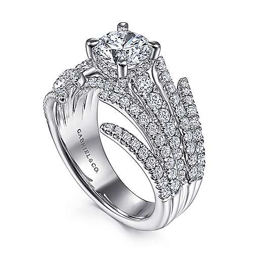 14K White Gold Split Shank Round Diamond Engagement Ring
