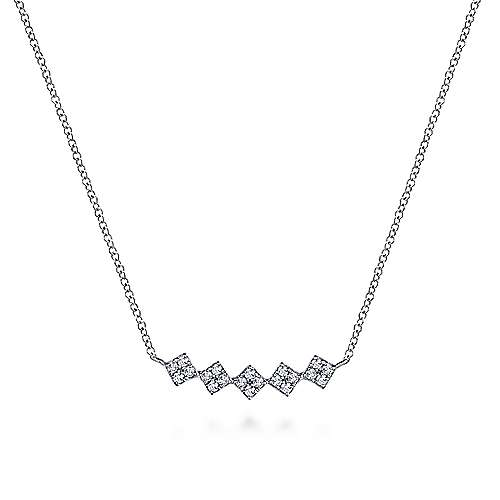 14K White Gold Square Diamond Bar Necklace