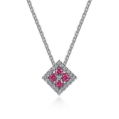 14K White Gold Square Ruby and Diamond Pendant Necklace