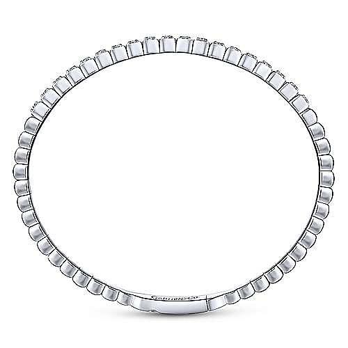 14K White Gold Square Set Diamond Bangle