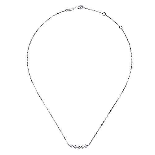 14K White Gold Square Station Diamond Pavé Curved Bar Necklace