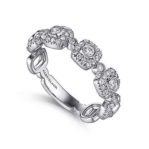 14K White Gold Square Station Stackable Diamond Ring