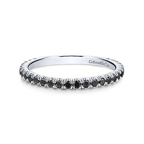 14K White Gold Stackable Black Diamond Ring