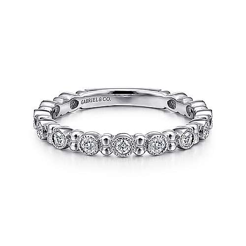 14K White Gold Stackable Diamond Ring with Bead Spacers