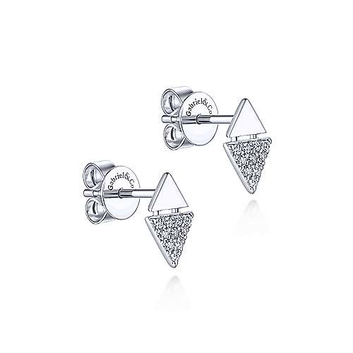 14K White Gold Stacked Triangle Diamond Stud Earrings