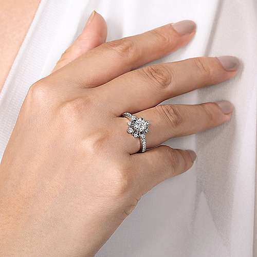 14K White Gold Starburst Halo Round Diamond Engagement Ring