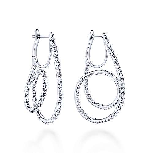 14K White Gold Swirling 35mm Diamond Huggie Earrings
