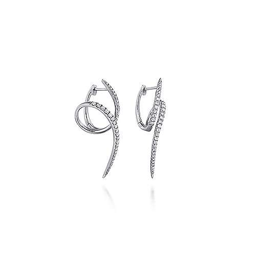 14K White Gold Swirling 40mm Diamond Huggie Earrings