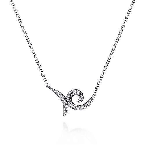 14K White Gold Swirling Pavé Diamond Pendant Necklace
