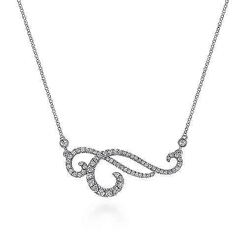 14K White Gold Swirly Diamond Pendant Necklace