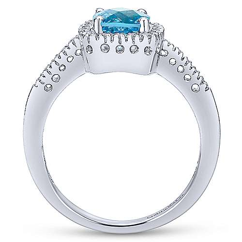 14K White Gold Swiss Blue Topaz and Diamond Halo Ring