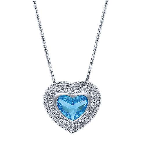 14K White Gold Swiss Blue Topaz and Diamond Heart Pendant Necklace