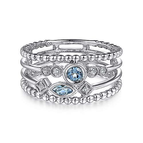 14K White Gold Swiss Blue Topaz and Diamond Multi Row Ring