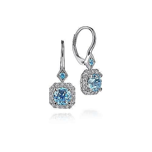 14K White Gold Swiss Blue Topaz with Diamond Halo Leverback Earrings