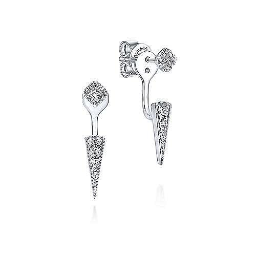 14K White Gold Tapered Diamond Bar Stud Earrings