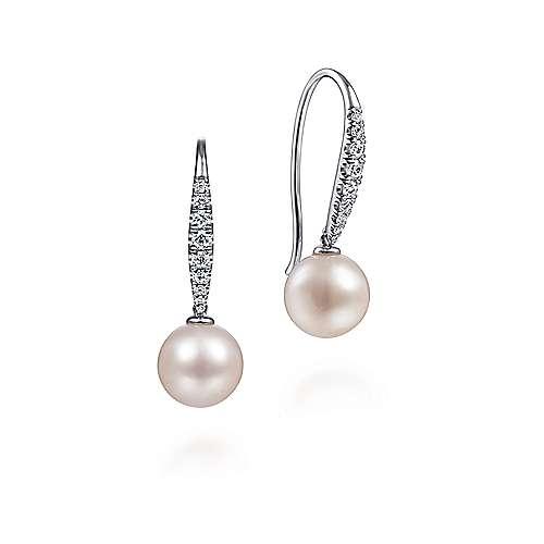 14K White Gold Tapered Diamond Cultured Pearl Drop Earrings