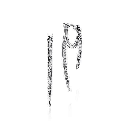14K White Gold Tapered Diamond Threader Drop Earrings