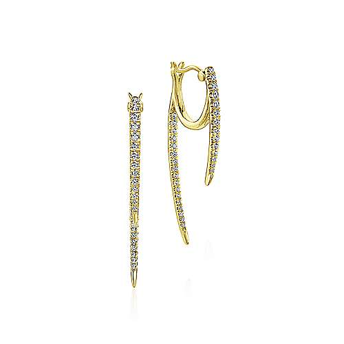 14K White Gold Tapered Diamond Threader Drop Earrings