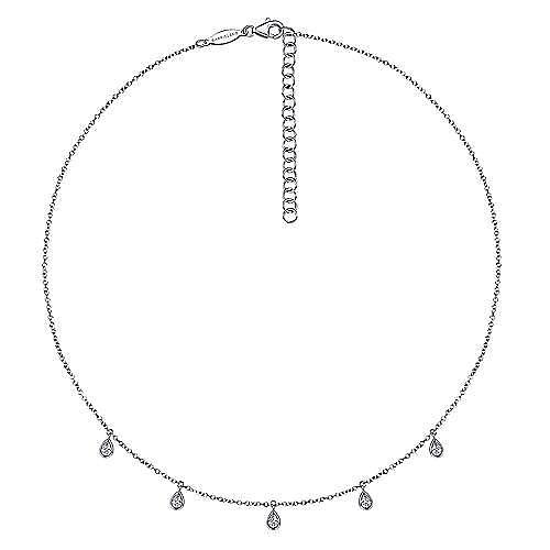 14K White Gold Teardrop Bezel Set Diamond Drop Necklace