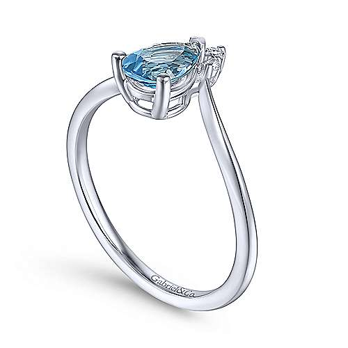 14K White Gold Teardrop Blue Topaz and Diamond Triangle Ring