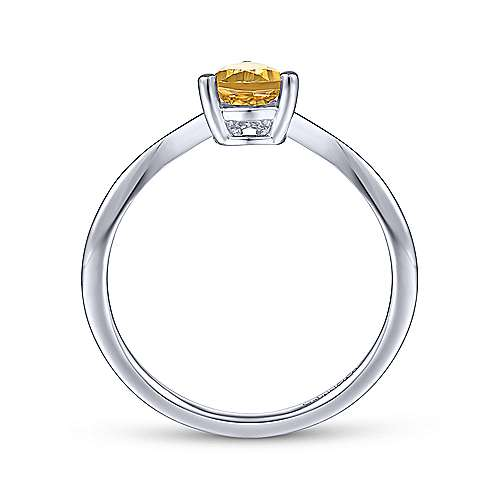 14K White Gold Teardrop Citrine and Diamond Chevron Ring
