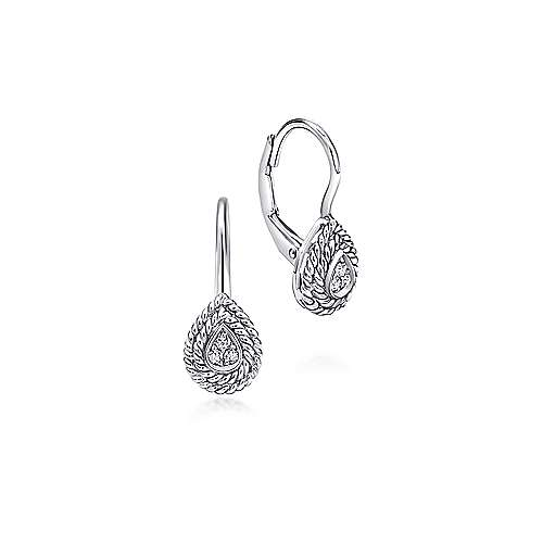 14K White Gold Teardrop Diamond Drop Earrings with Twisted Rope Frames