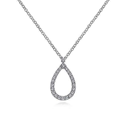 14K White Gold Teardrop Diamond Pendant Necklace