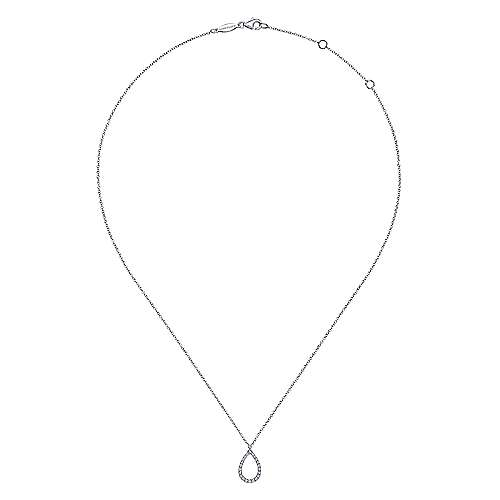 14K White Gold Teardrop Diamond Pendant Necklace
