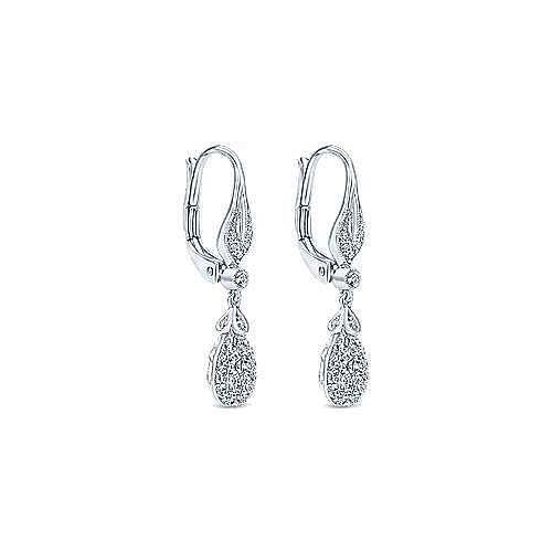 14K White Gold Teardrop Leverback Cluster Diamond Earrings